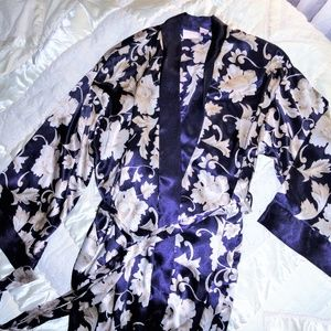 Womens Silky Long Robe Purple White Floral M/L